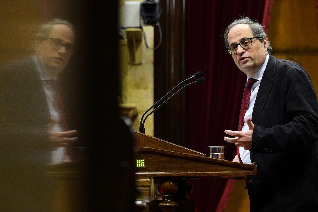 Le député de Barcelone Quim Torra à la tribune du Parlement catalan, le 1er mars.