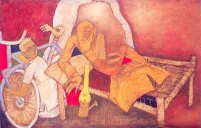 "M.F. Husain, ""Autobiography"", Oil on Canvas, 48"" x 72"", 1996"