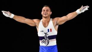 Le Français Samir Aït Saïd aux anneaux lors de la finale par appareils des Championnats du monde de gymnastique artistique, le 7 octobre 2017 à Montréal