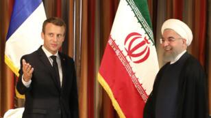 Le président Emmanuel Macron  et son homologue iranien Hassan Rohani, le 18 septembre, à l'Onu.