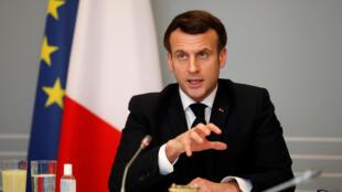 Le président Emmanuel Macron, le 17 février 2021 à l'Elysée, à Paris