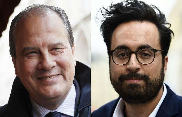 (L) Socialist Party chief Jean-Christophe Cambadélis, (R) Junior Minister for Digital Affairs Mounir Mahjoubi