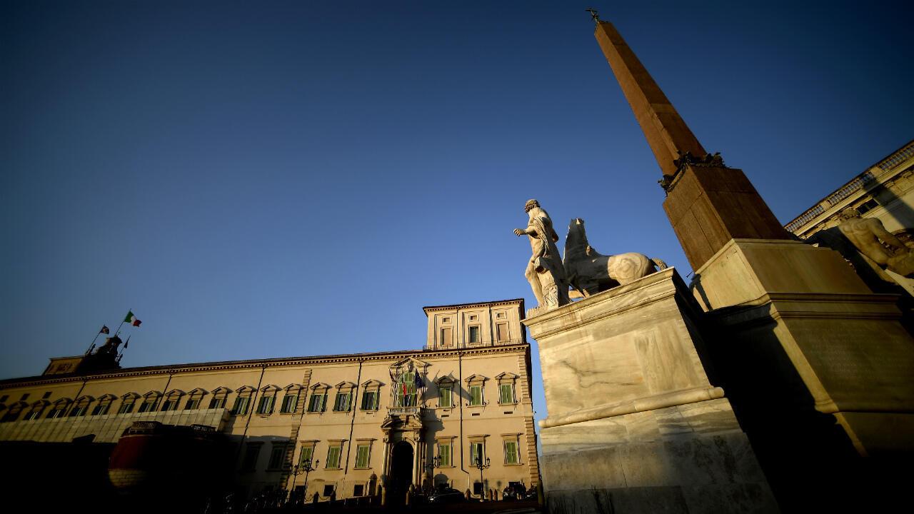 Une vue générale du palais présidentiel du Quirinal, à Rome, alors que le pays est confronté à une crise politique, le 20 août 2019.