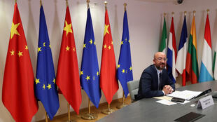 European Council President Charles Michel takes part in a virtual summit with Chinese President Xi Jinping in Brussels, Belgium June 22, 2020.