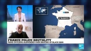 2020-11-27 14:33 France Police Brutality, police officers suspended over beating of black man