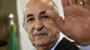 صورة بتاريخ 13 كانون الأول/ديسمبر 2019 للرئيس الجزائري عبد المجيد تبون أثناء مؤتمر صحافي في العاصمةالجزائرية