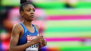 La atleta estadounidense Deajah Stevens, en una serie de 200 metros del Mundial de Londres, el 8 de agosto de 2017