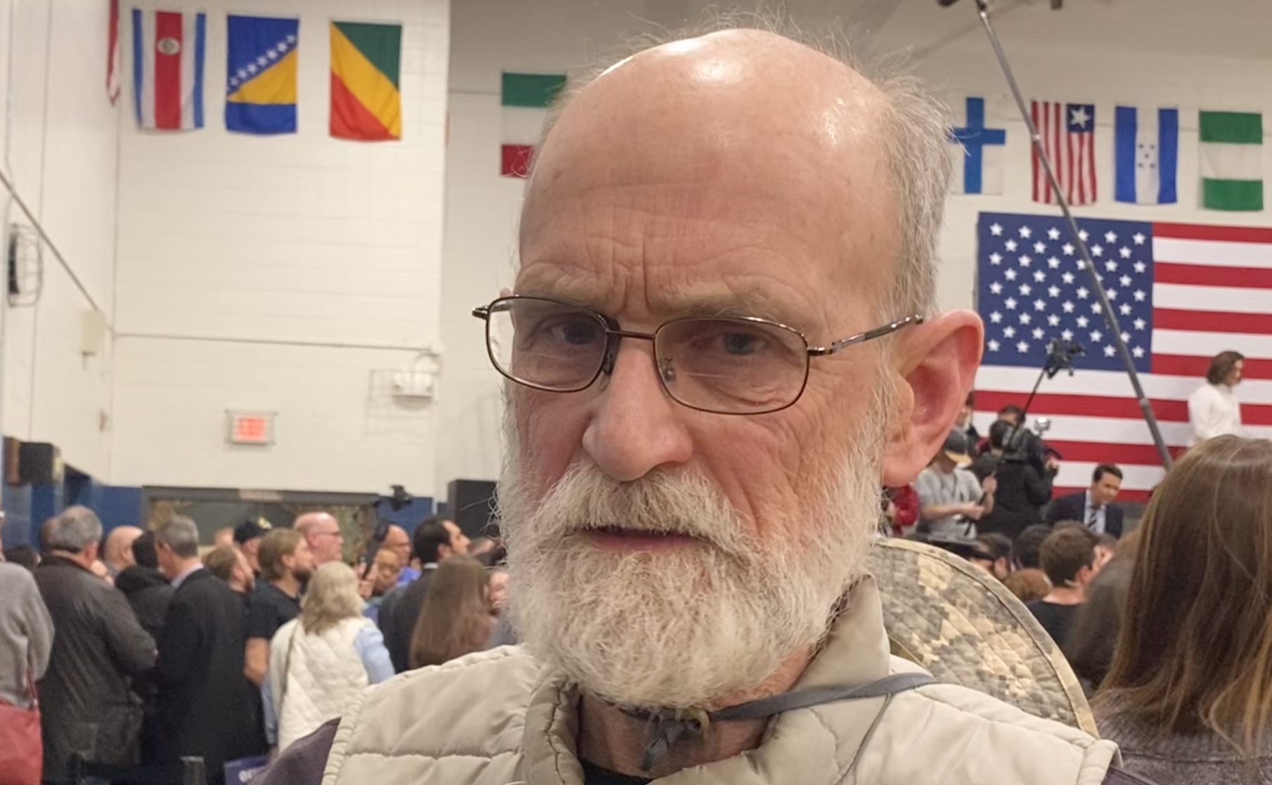 James A. Benzoni, an immigration attorney who supports Joe Biden, at a rally in Des Moines, Iowa, February 2nd 2020.