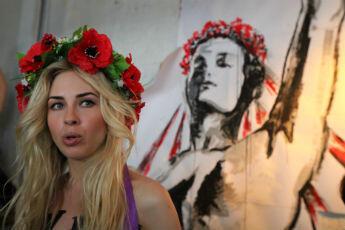 Sacha Chevtchenko, 24 ans, l'une des fondatrices de Femen, a arrêté ses études pour militer à plein temps. © Sarah Leduc