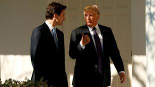 El presidente de Estados Unidos Donald Trump y el primer ministro canadiense Justin Trudeau caminan desde la Oficina Oval hasta la Residencia de la Casa Blanca en Washington, EE.UU., el 13 de febrero de 2017.