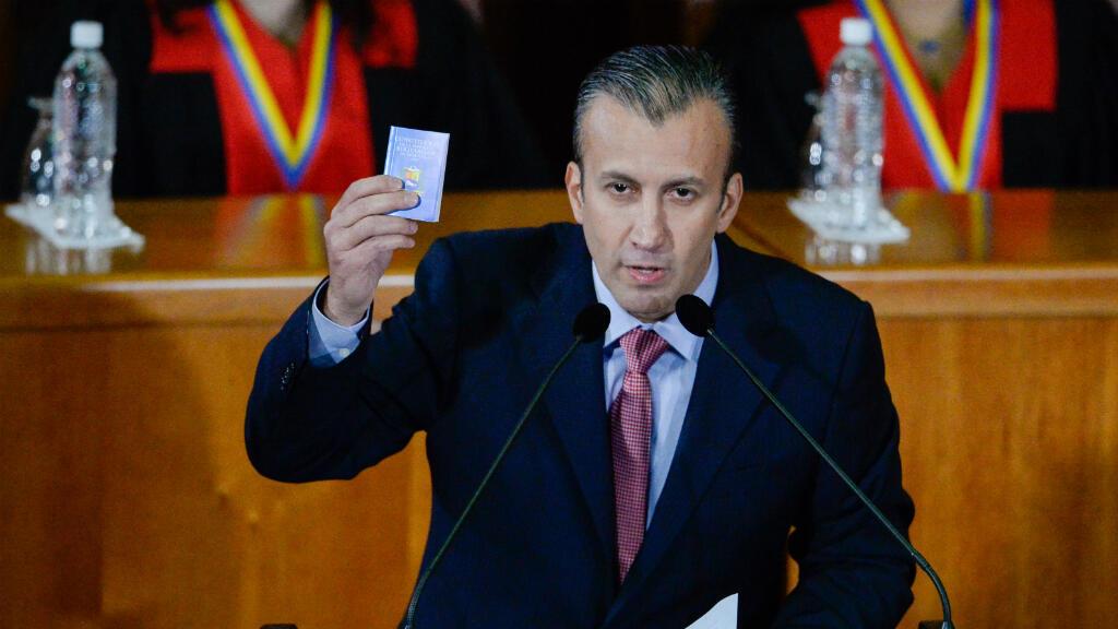 En esta foto de archivo el exvicepresidente de Venezuela y actual ministro de Industrias, Tareck El Aissami, pronuncia un discurso en el que evaluó su año en el cargo en la Corte Suprema de Justicia de Caracas, el 3 de marzo de 2017.