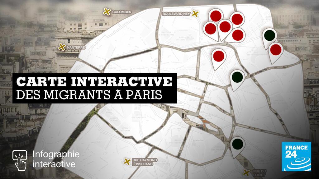 Carte interactive des hébergements et campements de migrants à Paris
