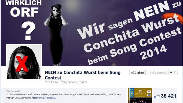 La page facebook s'opposant à la candidature de CONCHITA WURST