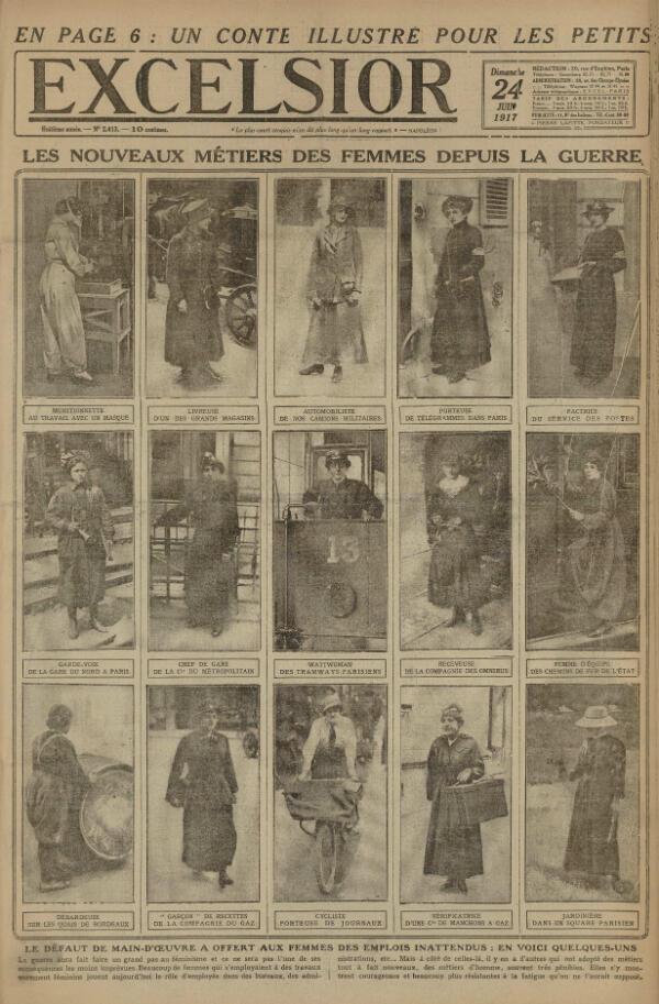Une du journal Excelsior du 24 juin 1917 montrant les nouveaux métiers des femmes depuis la guerre