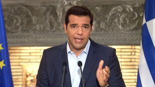 Le Premier ministre grec Alexis Tsipras, lors de son allocution télévisée du 20 août 2015.