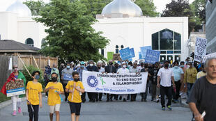 Thousands joined a walk against hatred in London, Ontario on June 11, 2021, five days after members of a Canadian Muslim family were killed when a man 'deliberately' targeted them with his truck
