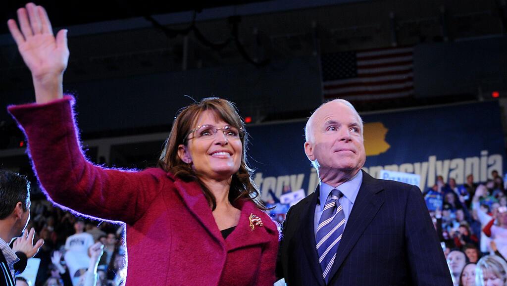 John McCain y su fórmula vicepresidencial, Sarah Palin, durante un rally de campaña en 2008.
