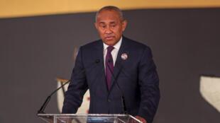 Le président de la CAF Ahmad Ahmad, s'exprimant lors du tirage au sort pour les qualifs africaines du Mondial-2022 effectué au Caire le 21 janvier 2020