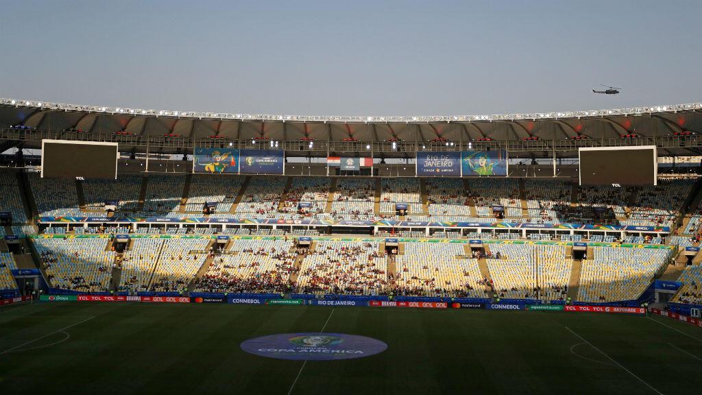 Panorámica del estadio Maracaná durante el partido Paraguay-Catar, que registró baja asistencia de público, en la Copa América, el 16 de junio de 2019, en Río de Janeiro, Brasil, el 16 de junio de 2019.