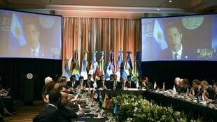 Venezuela's opposition leader Juan Guaido spoke to the Lima Group meeting in Buenos Aires by video link