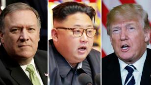 Foto montaje del director de la CIA, Mike Pompeo, del mandatario norcoreano, Kim Jong-un, y del presidente estadounidense, Donald Trump. Archivo.
