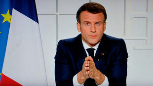 French President Emmanuel Macron during a televised address on the Covid-19 pandemic at the Élysée Palace, Paris, France, on March 31, 2021.