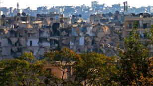 Destructions dans le quartier rebelle de Boustan al-Bacha dans la partie Est d'Alep, suite aux intenses bombardements russes et syriens.