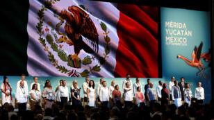 Vista general de la inauguración de la XVII Cumbre Mundial de Premios Nobel de la Paz este jueves 19 de septiembre en la ciudad de Mérida (México).