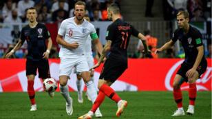 Le joueur anglais Harry Kane face à l'équipe de Croatie en demi-finale du Mondial-2018.