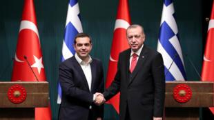 رئيس وزراء اليونان أليكسيس تسيبراس والرئيس التركي أردوغان 2 فبراير 2018