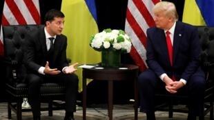 ترامب والرئيس الأوكراني فولوديمير زيلينسكي. مقر الأمم المتحدة في نيويورك 25 سبتمبر/أيلول 2019.