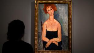 Un vrai Modigliani exposé à Paris, le 28 février 2017.