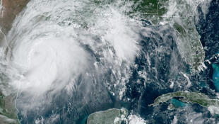 This RAMMB/NOAA satellite image obtained on June 25, 2020 shows Hurricane Hanna in the Gulf of Mexico