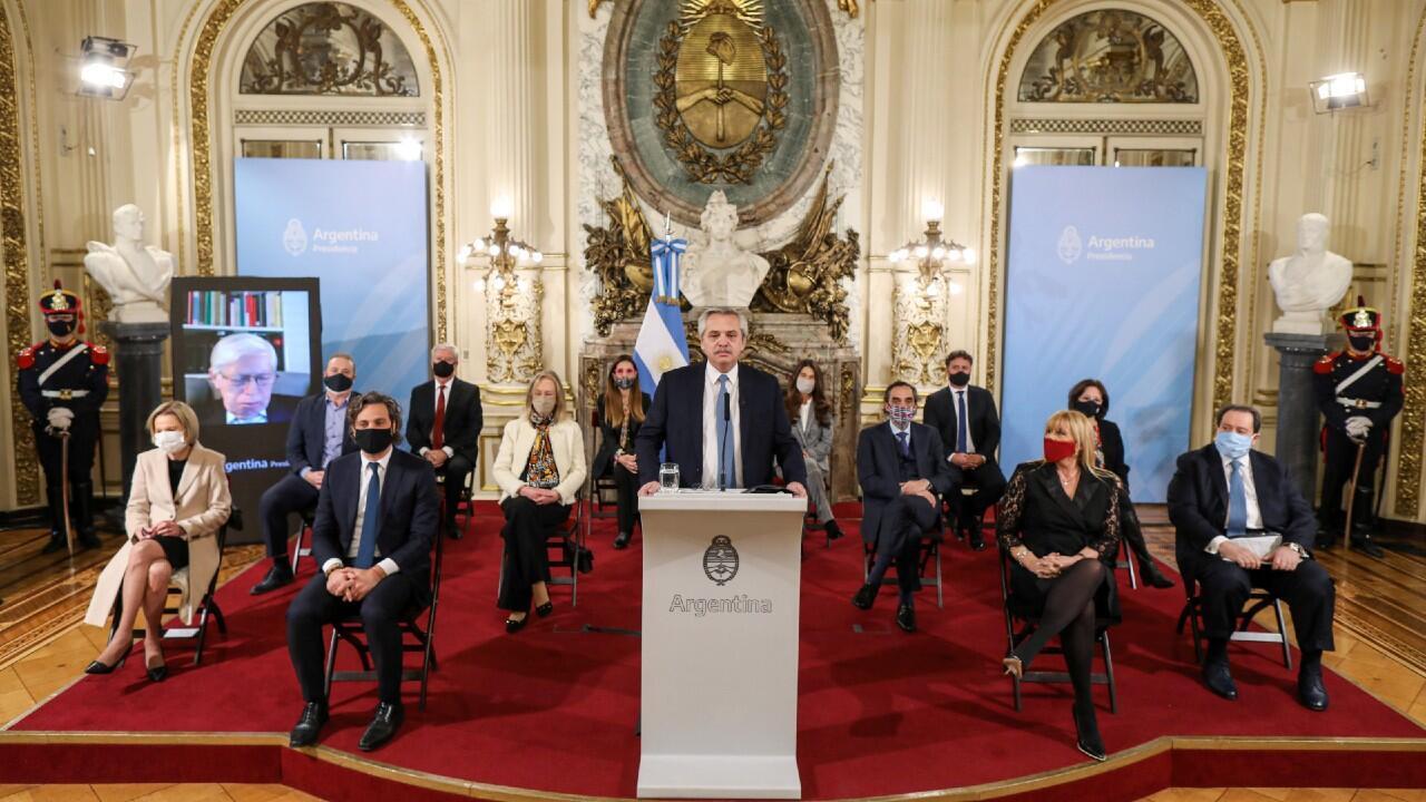 El presidente argentino, Alberto Fernández durante la presentación del proyecto de Ley de Organización y Competencia de la Justicia Federal y el Consejo Consultivo.