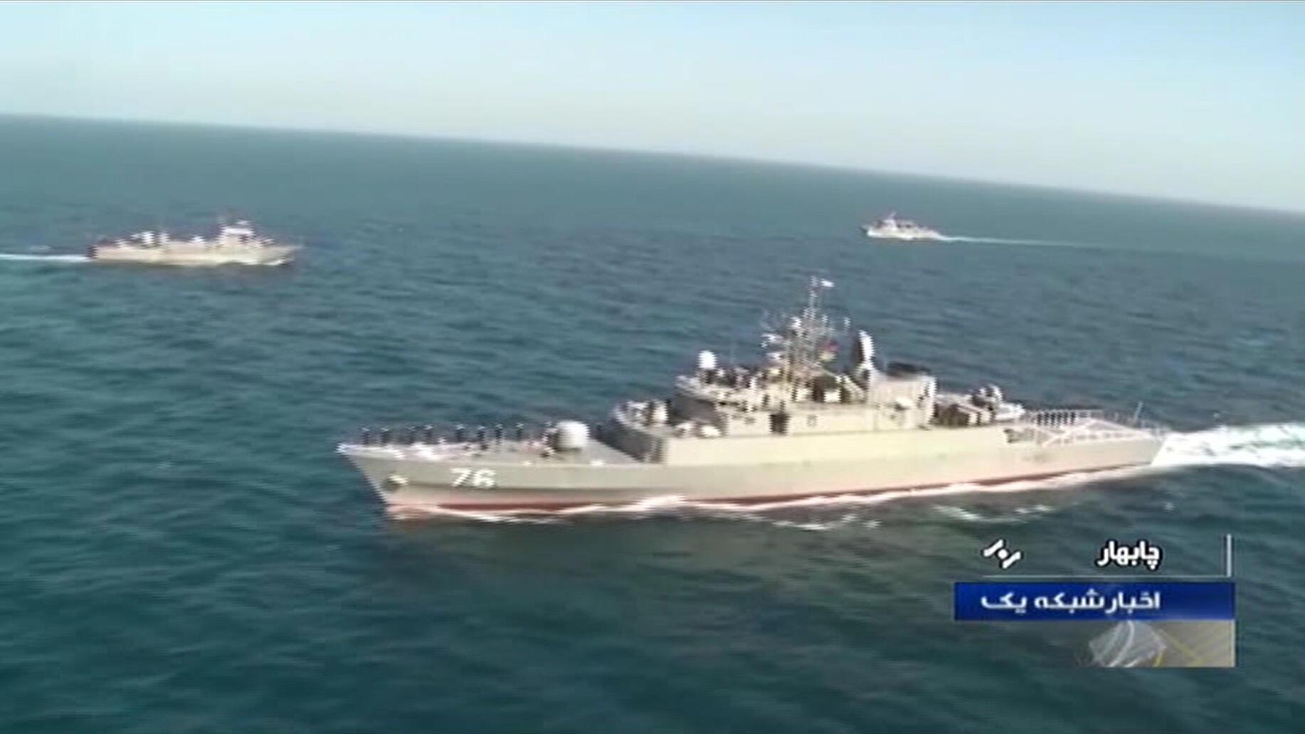 الفرقاطة الإيرانية جاماران خلال تدريبات بحرية في كانون الأول/ديسمبر 2019.