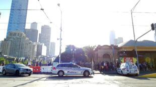 L'incident s'est produit à proximité de ce carrefour du centre de la ville de Melbourne, sur Flinders Street.