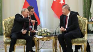 Recep Tayyip Erdogan et Vladimir Poutine, lors de leur recontre à Téhéran, le 7 septembre 2018.