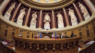 L'hémicycle du Sénat au Palais du Luxembourg à Paris, le 17 novembre 2016 à Paris