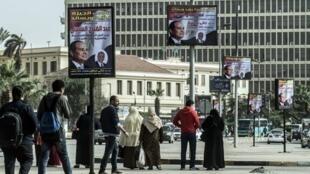 Les affiches de campagne du président al-Sissi, dans les rues du Caire, le 26 février 2018.