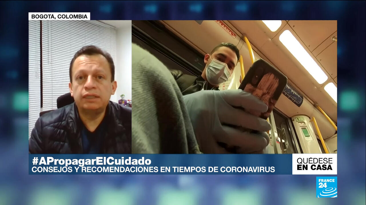El médico infectólogo Carlos Eduardo Pérez habla con France 24 sobre los fetos y el Covid-19, el 8 de mayo de 2020.