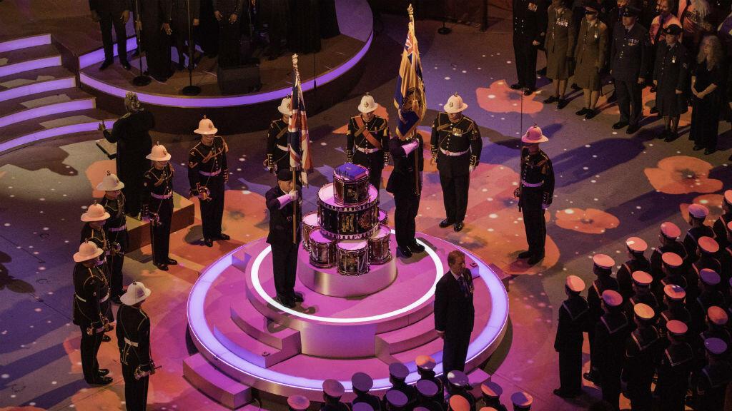 Foto proporcionada por el ministerio de Defensa británico que muestra los tambores colocados durante el Festival de la Memoria en el Royal Albert Hall, en Londres, Reino Unido, el 10 de noviembre de 2018.