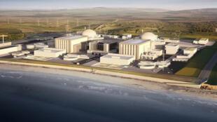 Un modélisation informatique du futur site nucléaire britannique de Hinkley Point au sud-ouest de l'Angleterre
