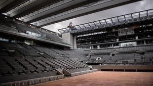 Empty feeling?: The new roof over Philippe Chatrier Court is due to be used for the first time this year