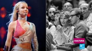 A la izquierda, fotograma del documental 'Framing Britney Spears'; a la derecha, la actriz Mia Farrow junto al cineasta Woody Allen, en 1983, en el Madison Square Garden de Nueva York.