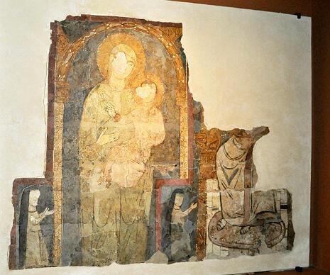 Fresque représentant la Vierge à l'enfant (Beyrouth Liban, XIIIe siècle).