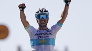 Kazakh rider Alexey Lutsenko of Astana won the sixth stage of the Tour de France on Sept. 3, 2020.