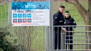 Police secure the site of a stabbing attack in the Paris suburb of Villejuif (Val-de-Marne).
