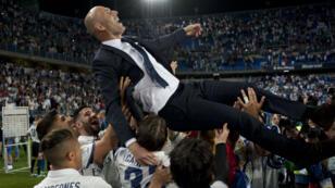 L'entraîneur du Real Madrid Zinedine Zidane, dont le club a décroché son 33e titre de champion d'Espagne.