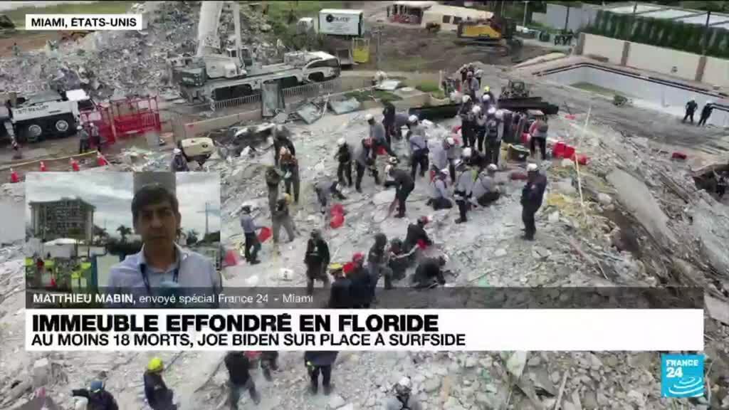 """2021-07-01 16:00 Immeuble effondré en Floride : Joe et Jill Biden sur place pour apporter """"du réconfort"""""""
