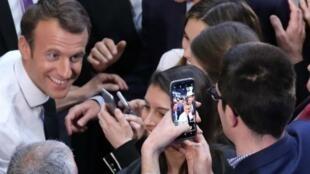 الرئيس الفرنسي إيمانويل ماكرون في جامعة جورج واشنطن، الأربعاء 25 ابريل/نيسان 2018